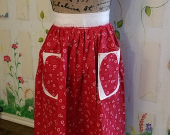 XL Handmade Half Apron with Heart Pockets Red Pink