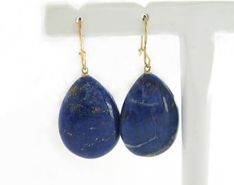 Fabulous Lapis Lazuli Drops on 14K Gold Earrings   Blue Lapis Gemstone Jewelry Earrings   Large Natural Gemstones