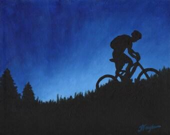 "Mountain Bike Art Print ~ Mountain Bike Poster ~ ""Twilight Climb"" ~ Mountain Biking Poster ~ Bike Art ~ Biking Painting Reproduction"