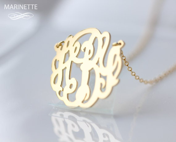 Gold monogram necklace personalize necklace gold monogram like this item mozeypictures Choice Image