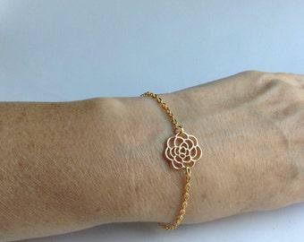 Gold Flower Bracelet, gold rose bracelet, gold bracelet, dainty bracelet, flower girl gift, bridesmaid gift, maid of honor gift,