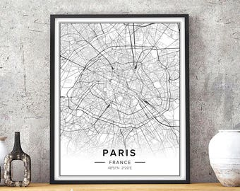 Paris Decor, Paris Print, Paris City Map Print, Paris Wall Art, Paris Map, Paris Poster, Paris France Art, Map Of Paris, City Wall Art, Pdf