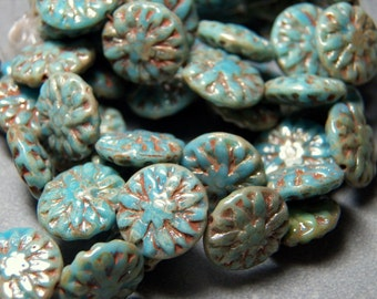 Czech Turquoise Picasso Dahlia 15mm Flat Flower Glass Beads (10) 1054