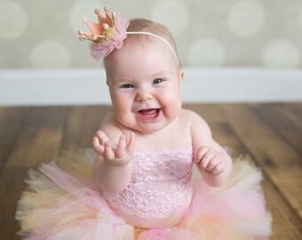 Pink and gold tutu set, Pink and gold tutu, crown headband, first birthday tutu, baby photo prop, baby tutu, tutu set, crown, cake smash,