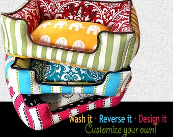 Fun and Cozy Custom Dog Beds - Name embroidery free, choose your own fabric, washable