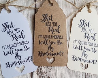 Bridesmaid Gift Tag Will You Be My Bridesmaid Wine Bottle Tag Bacherlotte