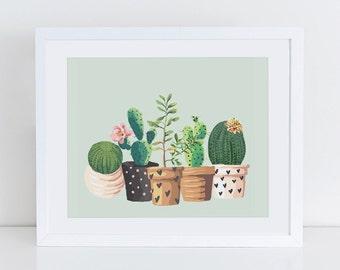 Cactus Print, Cactus Plant Garden Art Print, Home Sweet Home Printable, Instant Download, Home Decor, Garden Home Art Print Printable