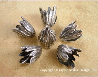 Antique Sterling Silver Plated Large Tulip Flower Beadcap (1932 AS) - 6 pieces