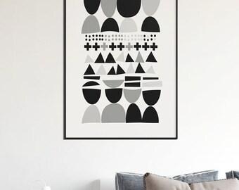 Scandinavian Modern Art Printable Scandinavian Art Black and White Print Wall Art Modern Wall Decor Scandinavian large art