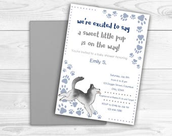 Husky Printable Invitation and Thank You Card, Baby Shower, Puppy, Customizable Invitation, Boy Baby Shower