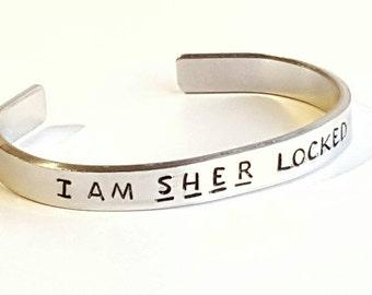 I am Sher locked bracelet. Sherlock fan jewellery. Birthday for best friend. Sherlock Holmes TV series. Book lovers gift. Irene Adler.