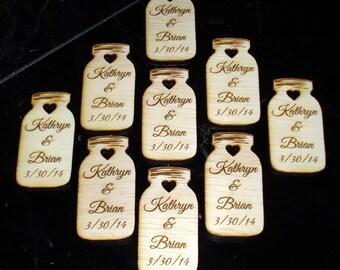 75 Mason Jar Wedding favors Personalized Wood Cut out