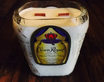 Upcycled Soy Candle from a Crown Royal Bottle