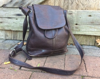 Leather Shoulderbag Brown Bucketbag Crossbody Made in Columbia