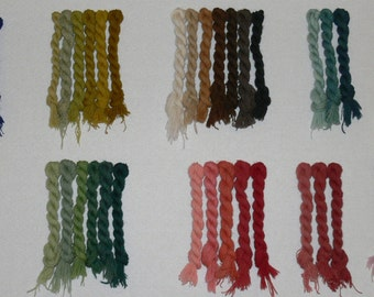 Embroidery Wool -  30 Assorted vegetable dyed colors