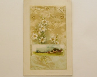 Antique Easter postcard egg country scene and flowers