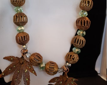 Brass and crystal bead necklace