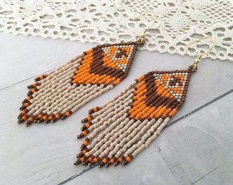 Extra long earrings Dangling earrings Seed bead earrings Long fringe earrings Native earrings Beaded earrings Boho earrings Tribal earrings