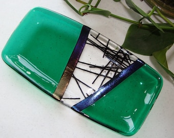 Fused Glass Dish - Chopstix Collection Green