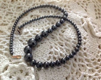 Vintage late 20 century type hematite beads necklace