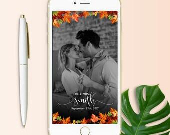 Fall Wedding Filter, Autumn Wedding Snapchat Geofilter, Fall Wedding Decor, Custom On Demand Geofilter, Mr. and Mrs. Wedding filter