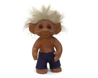 Large 1977 Original Vintage Thomas Dam Boy Troll Doll with Crazy White Hair. Made in Denmark. Dam Collectible Troll Dolls.