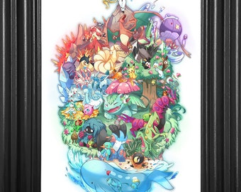 Pokemon Generation One Counted Cross Stitch Pattern Instant PDF Download
