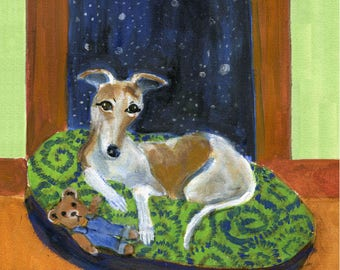 "Greyhound art card, ""Greyhound on green bed at window"" , 5"" x 5"" blank card"