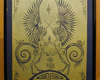 Pegasus - Gold on Dark Blue - Framed Print - Poster Print - Prussian Blue - Shiny Metallic - Decorative Arts - Printmaking