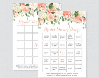 Peach Floral Bridal Shower Bingo Printable - 60 Unique Pre-filled Bingo Cards AND Blank Cards - Peach Green Flower Garden Bridal Bingo 0028
