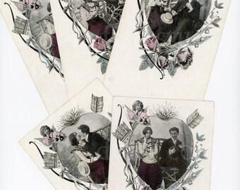 Set of 5 Vintage, Romantic Couple Postcards