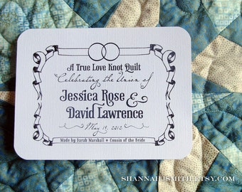 Personalized Wedding Rings Fabric Quilt Label • Blanket Patch
