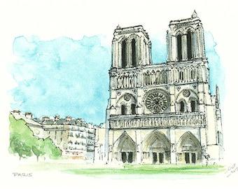 Paris Notre Dame France  / art print from an original watercolor painting / travel souvenir