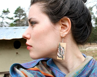 Hand-Painted Wood Feather Earrings