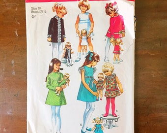 Vintage Sewing Pattern Simplicity 8568 Girl's Dress 1960s Lace Ruffle Trim Mini Size 10 28.5