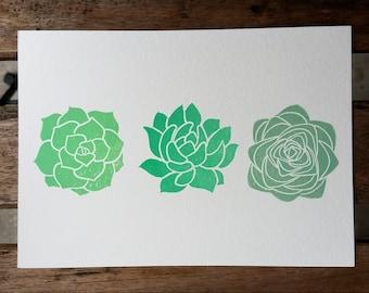 Succulent print | Handmade succulent print | Mini succulent print | Succulent block print | Succulent art