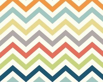Skinny Chevron Organic Fabric- Multi - Sold by the 1/2 Yard