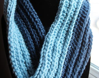 Crochet Cowl, cold weather cowl, winter scarf, infinity scarf, blue crochet, blue cowl, blue scarf, acrylic yarn