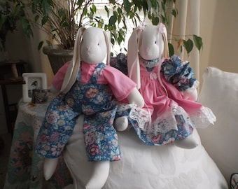 Handmade Stuffed Bunnies, Boy and Girl with matching out fits