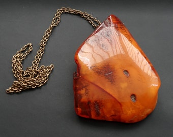 Baltic Amber Huge Old Pendant Egg Yolk Butterscotch 46.75 g 老琥珀, Amber Jewelry, Luxurious Amber Jewelry, Natural Amber #ET0212