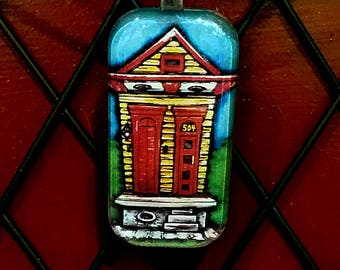 Shotgun House New Orleans one inch Glass Tile Pendant with cord