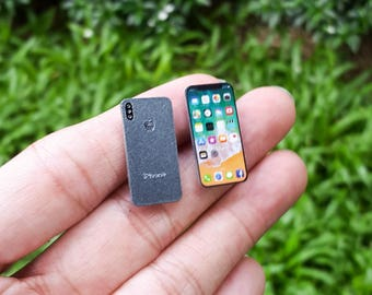 iPhone X [Space Gray] Miniature Scale 1:6 for Blythe Barbie Puki Lati Revoltech G.I. Joe and similar Dolls.