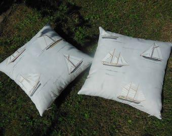 pillows maritime motives gray sailboat