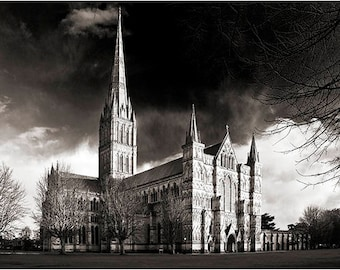 Salisbury Cathedral black & white monochrome Wiltshire church Christian Christianity religion religious English Gothic architecture photo UK