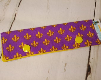"Short Needle Cozy - Gold Fleur de Lis on Purple -  project holder 6""x2""- (Hold up to 5"" Needles), DPN holder NCS0002"