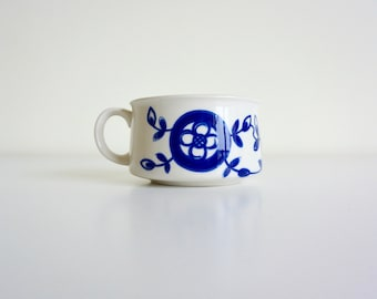 Single Blue and White Hand Painted Ceramic Stoneware Soup Mug