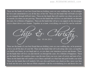 Blessing Of The Hands, These Hands Wedding Vows on Canvas, Wedding Gift, Customized Anniversary gift, Personalized Word Art
