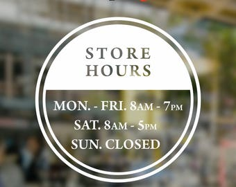 Round Store Hours Vinyl Decal, Circular Window Lettering, Office Wall Decal, Hours of Operation Vinyl Sticker, Business Hours Window Decal