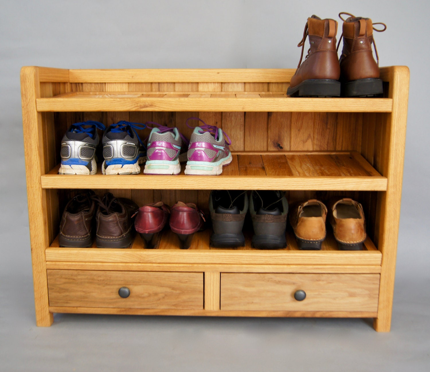 Shoe Rack, Shoe Storage, Entryway Storage, Solid Wood Made With Reclaimed  Oak, With Drawers,