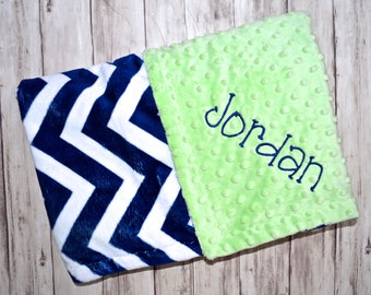 Monogrammed Minky Chevron  Baby Blanket -  Navy Blue and Lime Green Personalized - Neutral Zig Zag Blanket with name Newborn